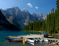 Canoes on Moraine Lake - Banff National Park, Canada